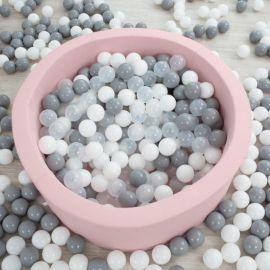 Piscine à balles ronde M rose - 200 balles - Ø 90 x 40 cm - GREY + WHITE + BEIGE