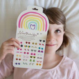 Boucles d'oreille adhésives - Rainbow Love - 30 paires